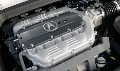 The 3.7-liter V6 engine of a 2013 Acura TL SH-AWD