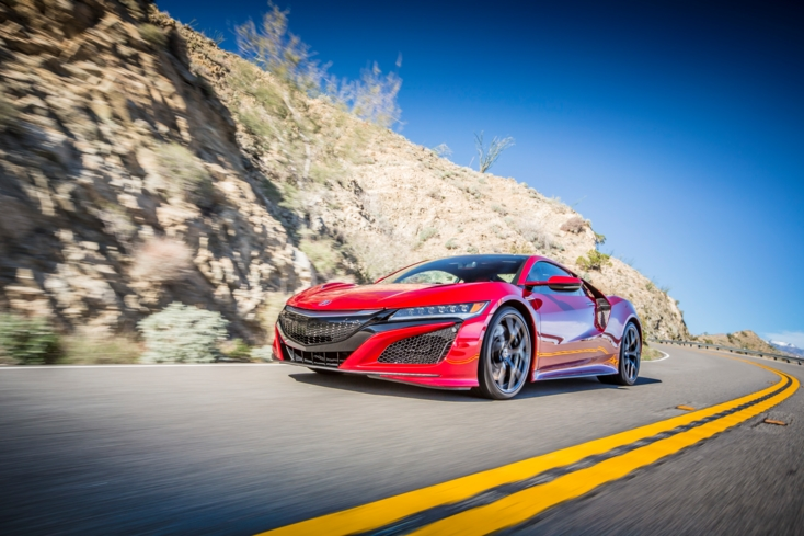 A three-quarter front view of the 2017 Acura NSX