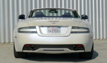 A rear view of the 2013 Aston Martin DB9 Volante
