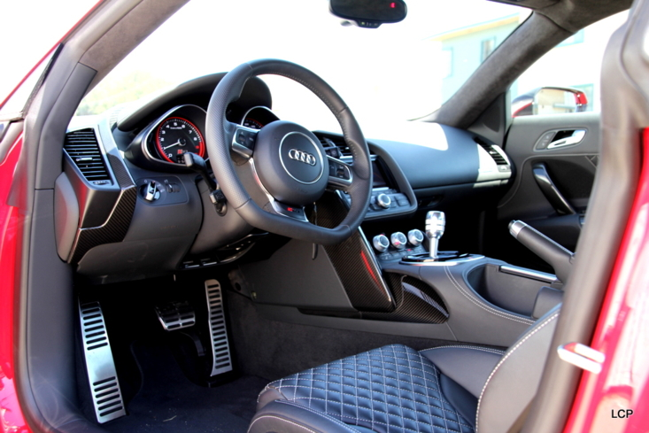 The interior of the Audi R8 V10