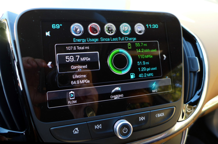 "The 2016 Chevrolet Volt Premier comes equipped with a MyLink radio 8"" screen"