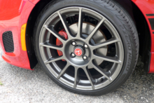 2013 Fiat 500 Abarth Cabrio wheel and red brake caliper