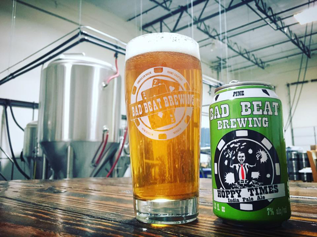 Bad Beat Brewing's Hoppy Times IPA offers intense flavors of grapefruit and passion fruit