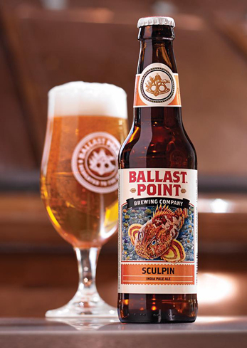 Ballast Point Sculpin is an American IPA with powerful hops balanced by tropical fruit notes
