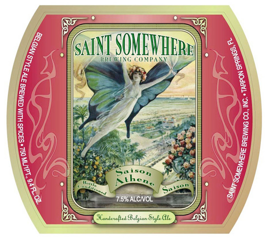Saint Somewhere Saison Athene has apple, apricot and granola notes on the nose