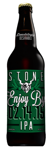 Stone Enjoy By IPA best enjoyed while they are fresh