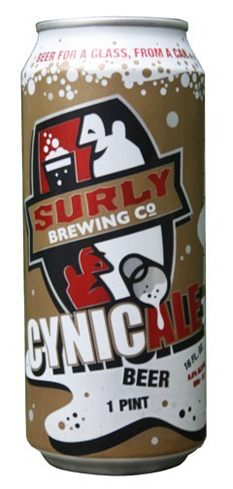 Surly CynicAle is a brassy amber beer with ample carbonation