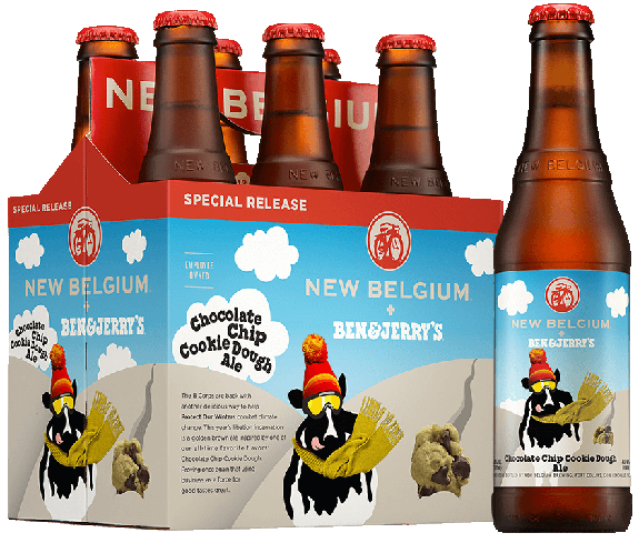 New Belgium + Ben & Jerry's Chocolate Chip Cookie Dough Ale has fewer calories than most ice creams
