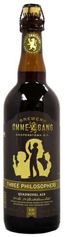 Ommegang Three Philosophers is a blend of 98 percent Ommegang Quadruple from Cooperstown, New York, and 2 percent Liefmans Kriek, a cherry lambic from Belgium