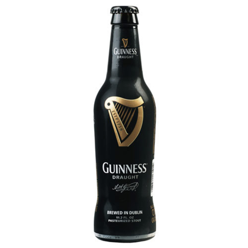Guinness Draught contains tiny nitrogen bubbles for a creamy mouthfeel and velvety head
