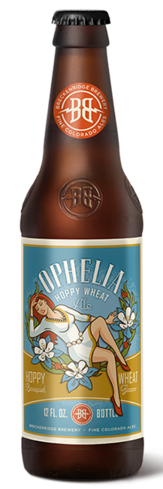 Breckenridge Brewery Ophelia Hoppy Wheat Ale offers subtle hints of mango, orange and pineapple