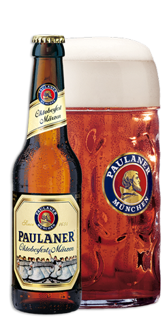 Paulaner Oktoberfest Märzen is amber-hued with a full malt aroma