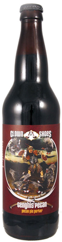 Clown Shoes Genghis Pecan Pie Porter is made with brown sugar and 200 pounds of freshly roasted pecans