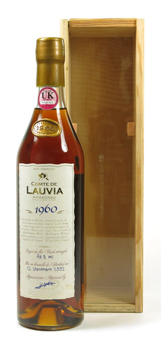 Comte de Lauvia 1960 Armagnac was aged for decades in the caves of France
