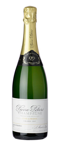 Champagne Pierre Peters Cuvée de Réserve Blancs de Blancs has scents of apple, pear and smoky mineral notes
