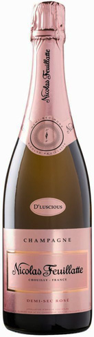 Champagne Nicolas Feuillatte D'Luscious Demi-Sec Rosé has flavors of cherry, blueberry and raspberry