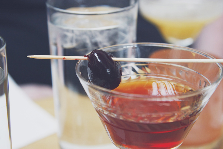 Rye whiskey, sweet vermouth and bitters are used to create the elegant Manhattan