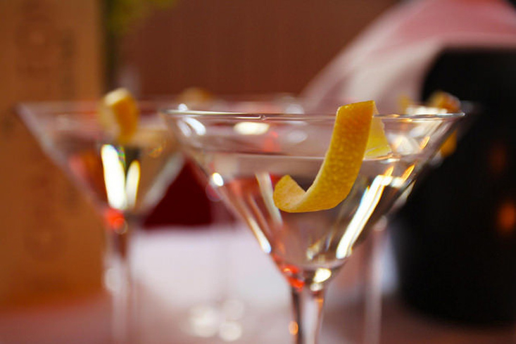The classic Gin Martini is simple and delicious: London dry gin, dry vermouth and a lemon peel for garnish