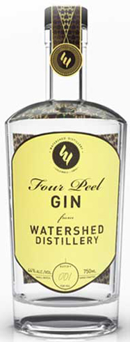 Watershed Four Peel Gin has notes of orange peel and rosemary