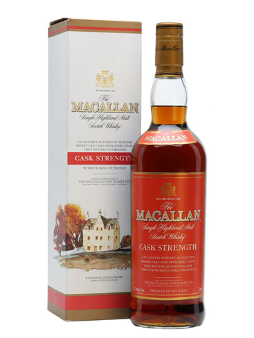 The Macallan Cask Strength Single Malt Scotch Whisky has flavors of caramel, toffee and vanilla