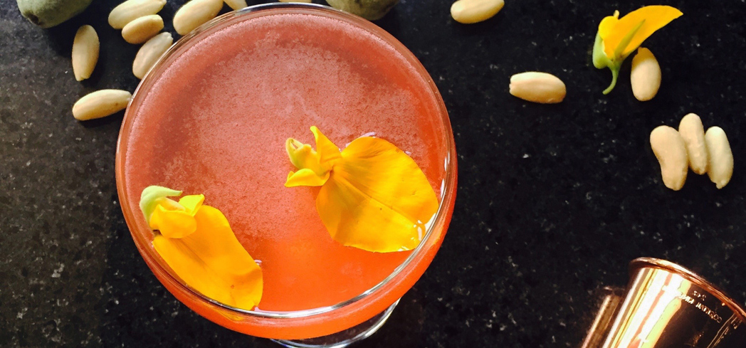 Topped with sparkling wine, the Mountain Rose cocktail is a refreshing aperitif