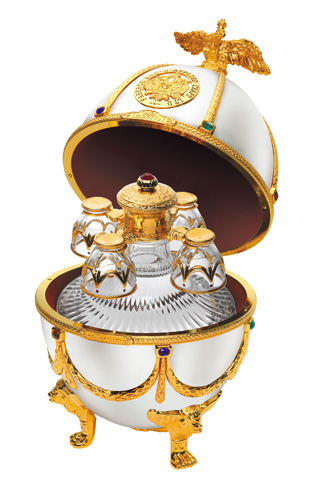 Imperial Collection Faberge Egg Vodka comes in pearl, sapphire, ruby and emerald finishes