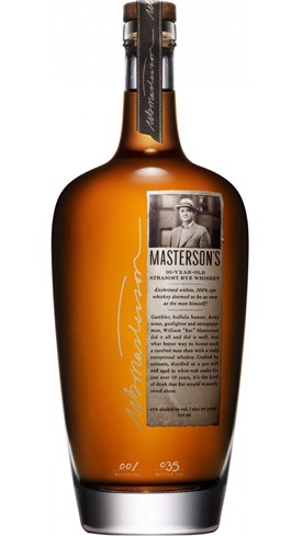 Masterson's 10-Year-Old Straight Rye is bottled in Sonoma, California, with rye sourced from Canada