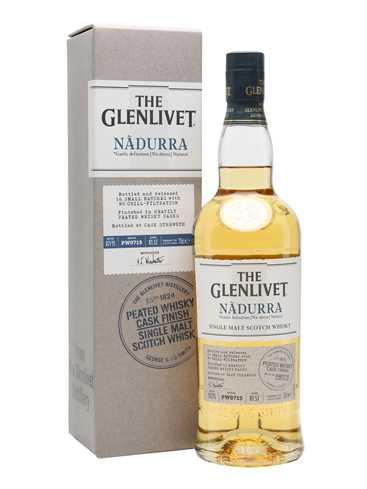 The Glenlivet Nadurra Peated Single Malt Scotch Whisky is named after the Gaelic word meaning natural
