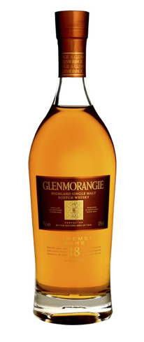 Glenmorangie 18 Year Old Single Malt Scotch Whisky has flavors of nuts and dried sticky figs