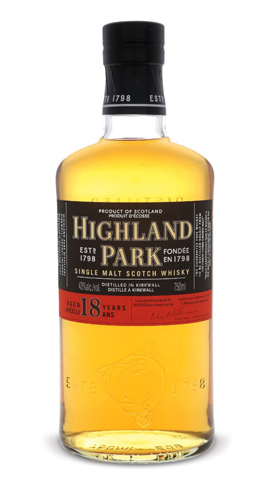 Highland Park 18 Year Old Single Malt Scotch Whisky has aromas of honey, sherry and peat