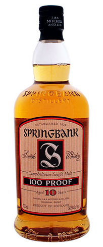 Springbank 10 Year Old 100 Proof Single Malt Scotch Whisky has aromas of honey and fresh cucumber