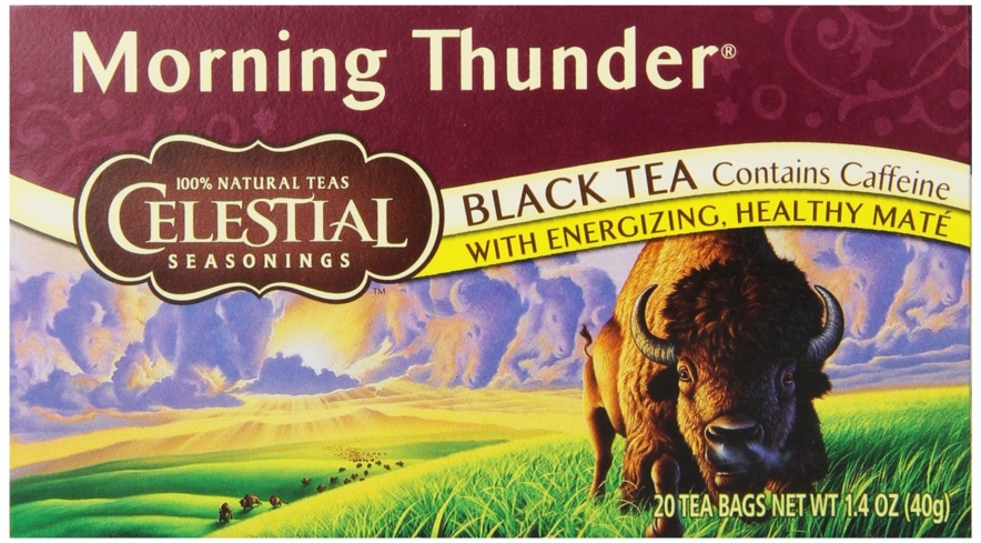 Celestial Seasonings Morning Thunder is a blend of rich black teas and roasted mate