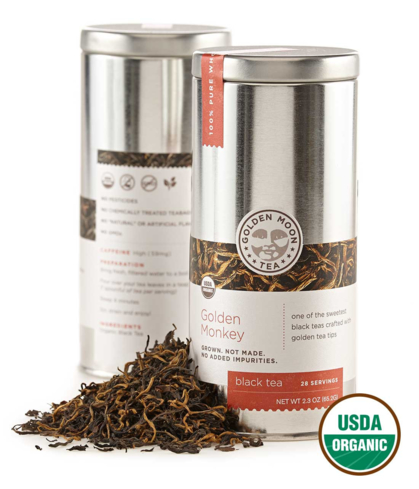 Golden Moon's Golden Monkey black tea is an organic offering that has a smooth finish
