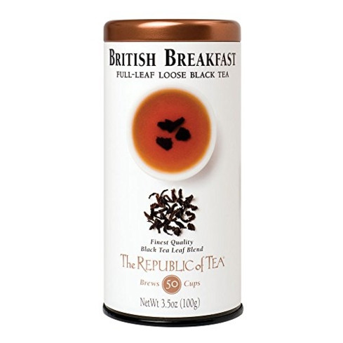 Enjoy Republic of Tea British Breakfast with a splash of milk