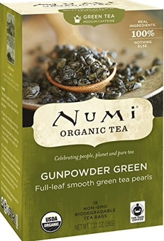Numi Organic Gunpowder Green Tea is made by steaming the leaves and rolling them into pellets that expand once steeped in hot water