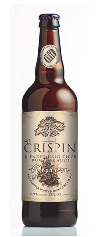 Crispin 15 Men Cider is made from apple wine aged in dark rum barrels