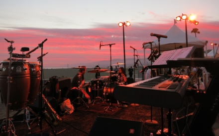 The band preparing to play at An Evening On The Beach