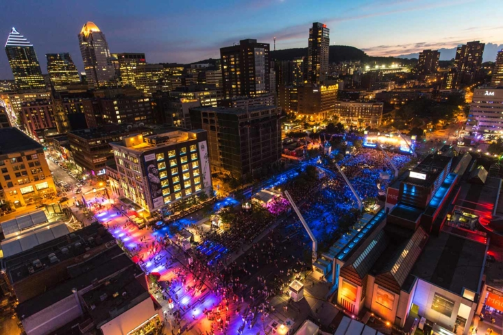 An aerial view of the Festival International de Jazz de Montréal