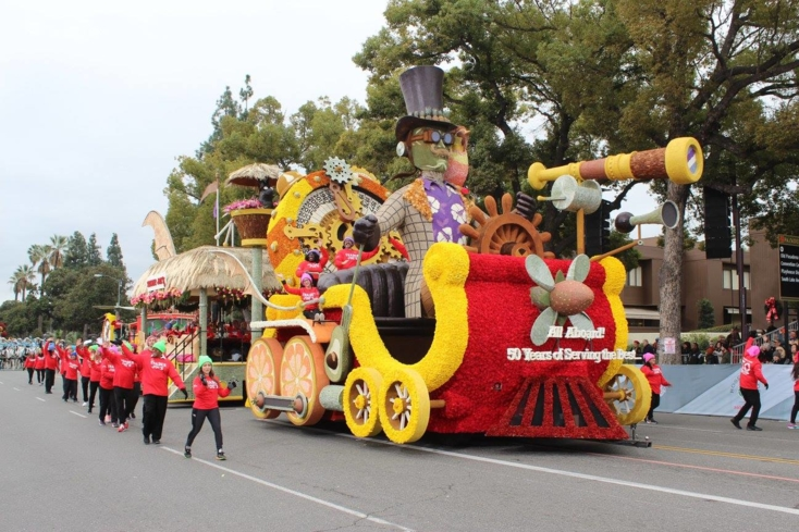 A float at the Rose Parade in Pasadena, California