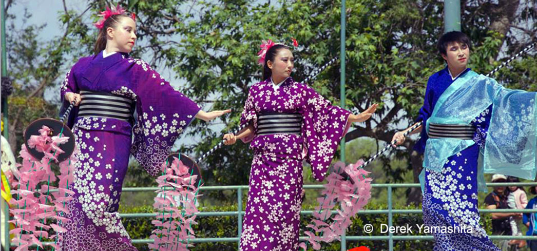 Traditional Japanese dancers take the stage at the Huntington Beach Cherry Blossom festival