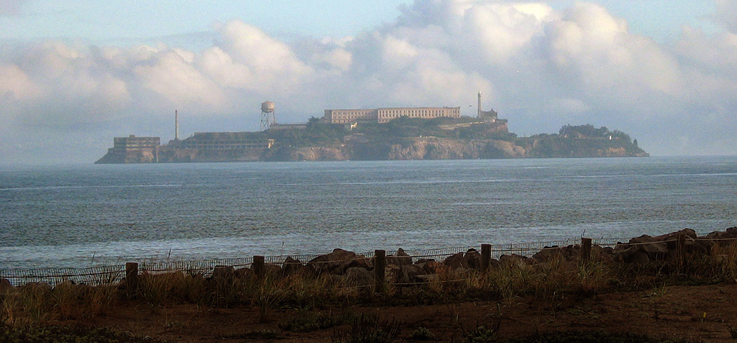 Alcatraz Island on a cloudy day