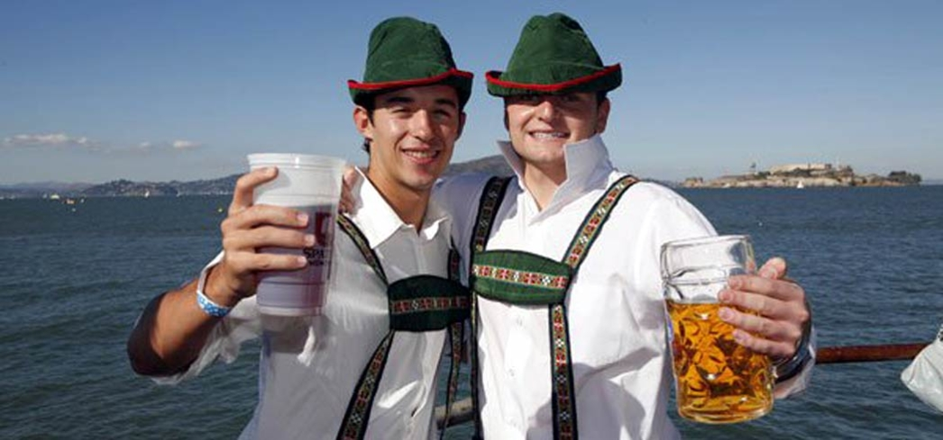 Enjoying the view and steins at Oktoberfest by the Bay