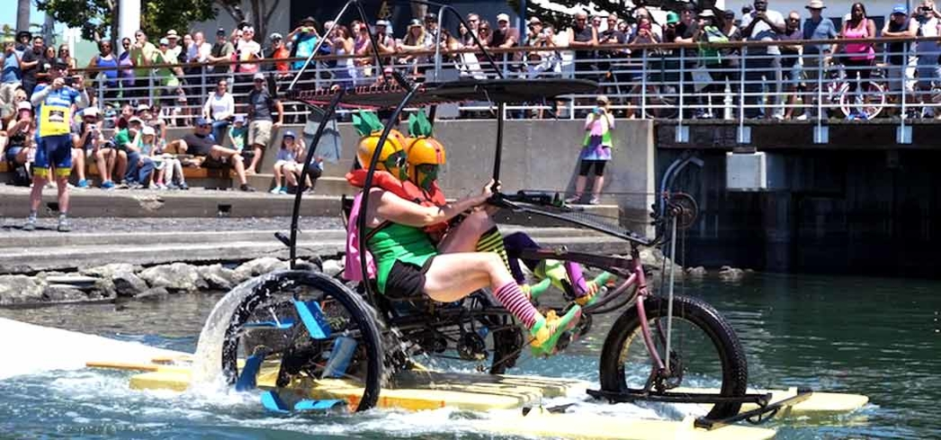 The amphibious bike race at Pedalfest in Jack London Square, Oakland