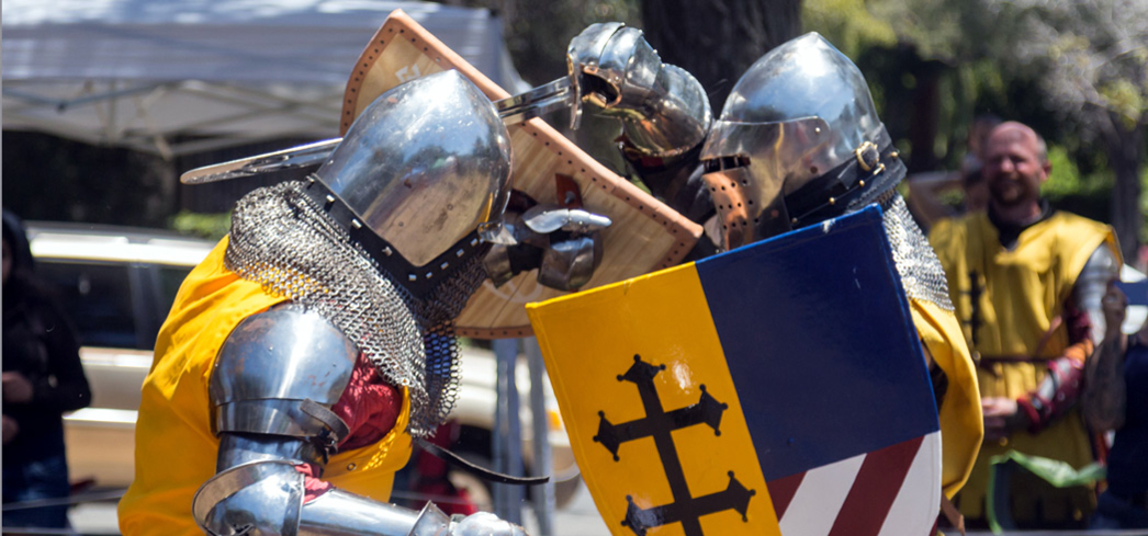 The armored combat show during the Santa Barbara French Festival