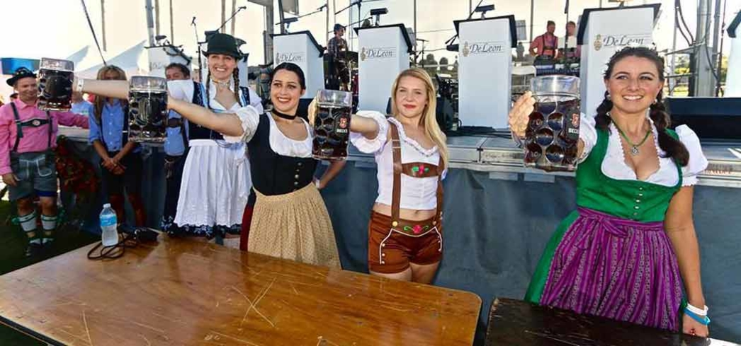 Cheering with steins at Oktoberfest in Tampa