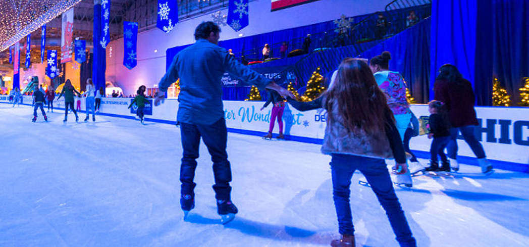 Go ice skating during Winter Wonderfest at the Navy Pier in Chicago, Illinois