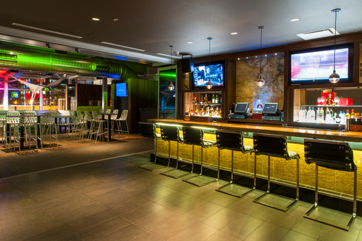 The indoor bar at I|O on the fourth level of the Godfrey Hotel Chicago