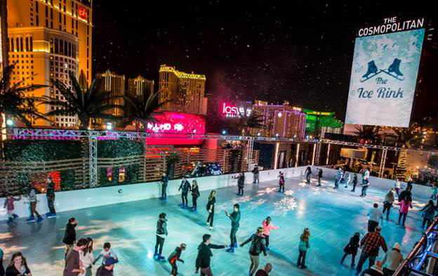 The Ice Rink at The Cosmopolitan transforms The Strip into a winter wonderland