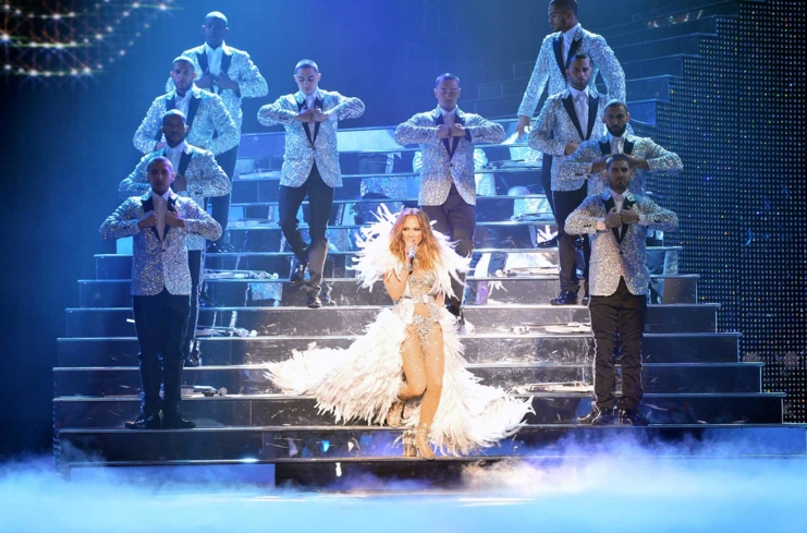Jennifer Lopez performing one of her hit songs during her show