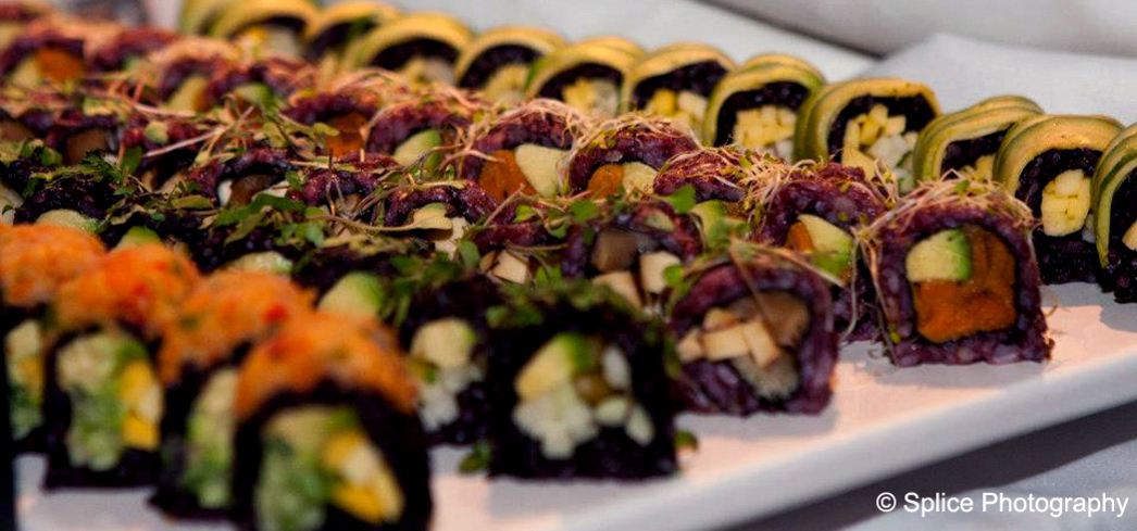 Vegetarian sushi rolls at the Vegetarian Food Festival